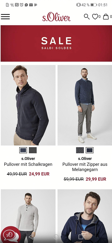 20%/59Euro MBM auch auf Sale S Oliver Pullover V Neck Baumwolle für 11,99 Euro zuzüglich 99 Cent Versand
