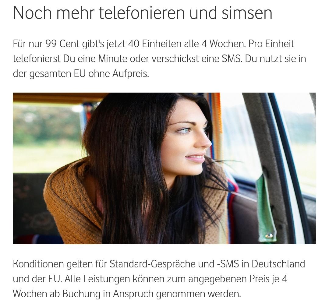Vodafone CallYa: 40 Einheiten für 99 Cent/Monat