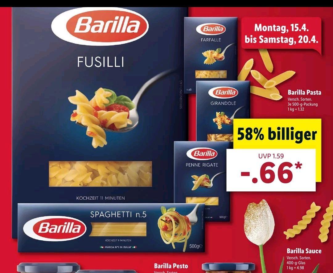 Barilla Pasta je 500g Packung für 0,66€ bei [Lidl ab 15.04 & Kaufland ab 18.04 (mit Integrale)]