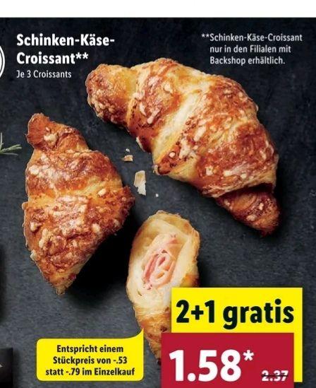 [Lidl] 3-für-2 Aktion für Schinken-Käse Croissant (regional Süd) bzw. für Berliner(3 Stück für 1€) (regional Nord)