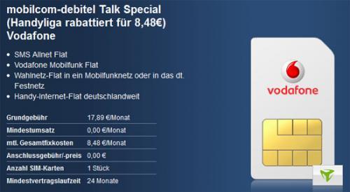 mobilcom-debitel Talk Specia(SMS-Flat,Internet-Flat,HotSpot-Flat,Vodafone und Wunschnetzflat) für 8,48 €