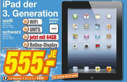 (Lokal Mössingen) Apple iPad 3. Generation 64gb Wifi+UMTS für 555€ im HEM Expert
