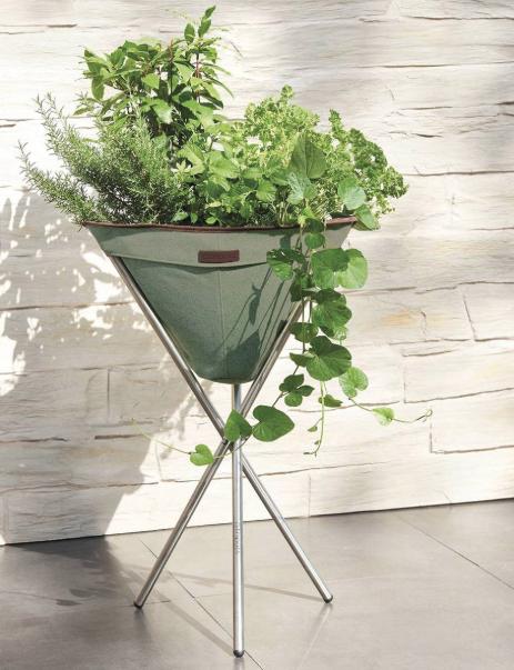 Tripott Pflanzenbehälter in Olivgrün oder Anthrazit mit Edelstahlgestell