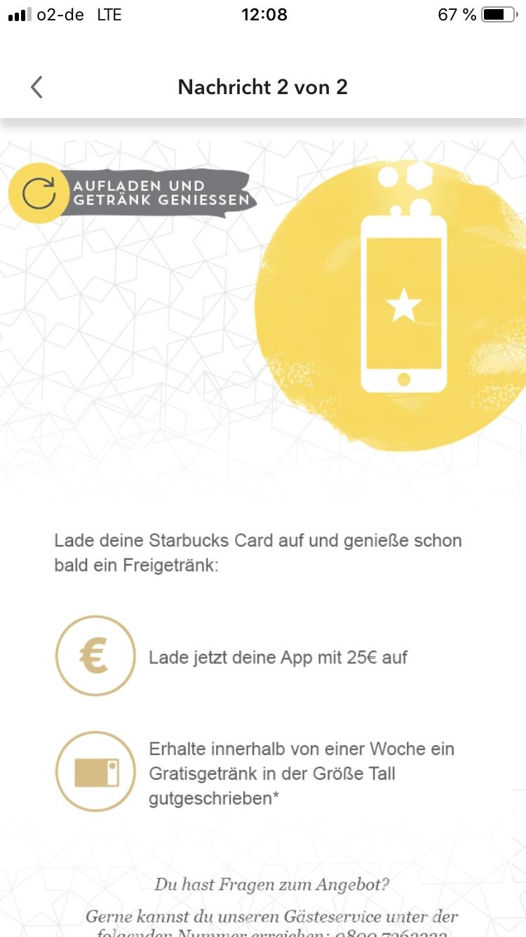 [Starbucks] Starbucks Card mit 25€ aufladen und Gratisigetränk erhalten