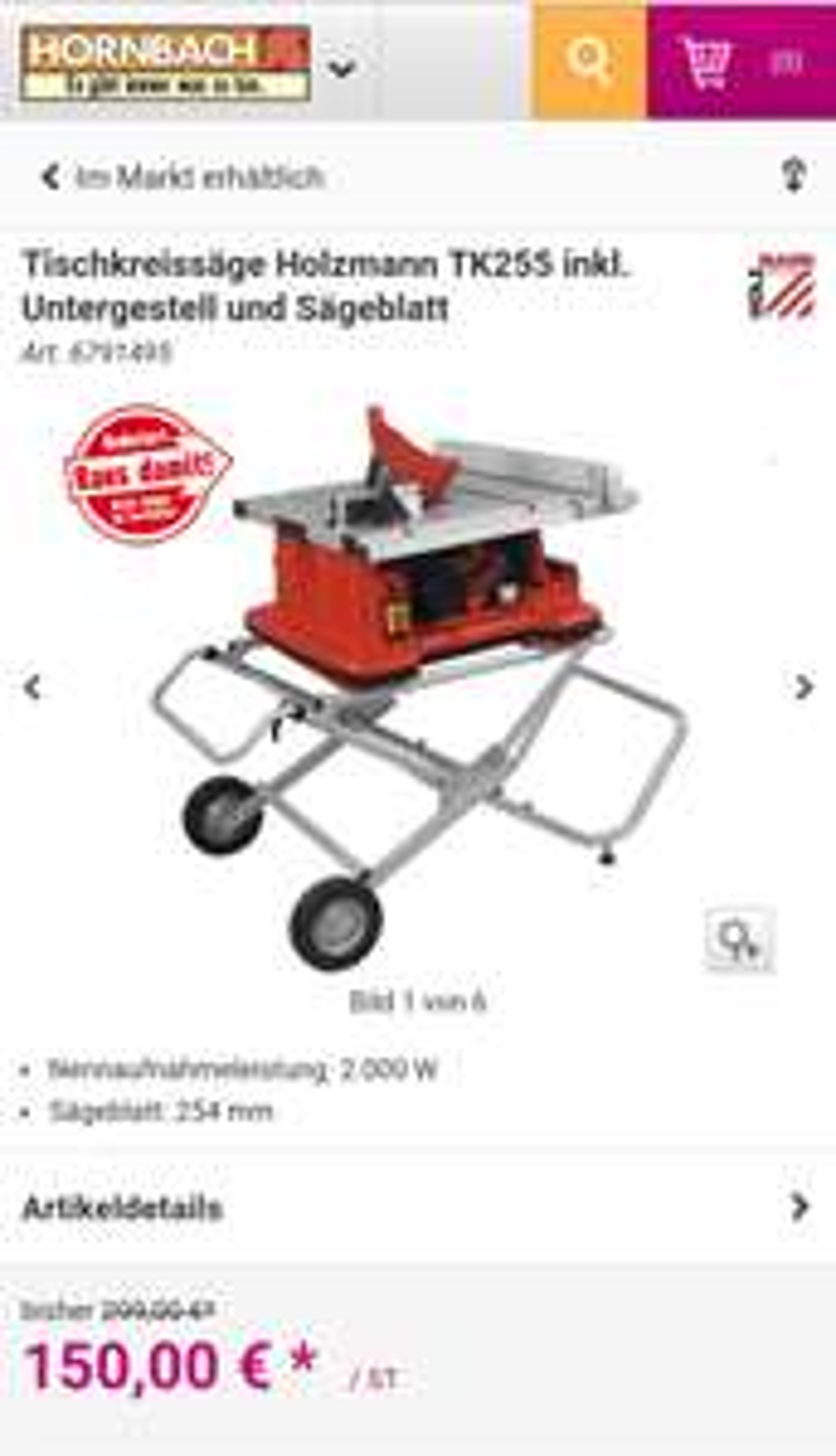 Holzmann TK255 Tischkreissäge mit mobilem Untergestell @hornbach rausdamit lokale Märkte