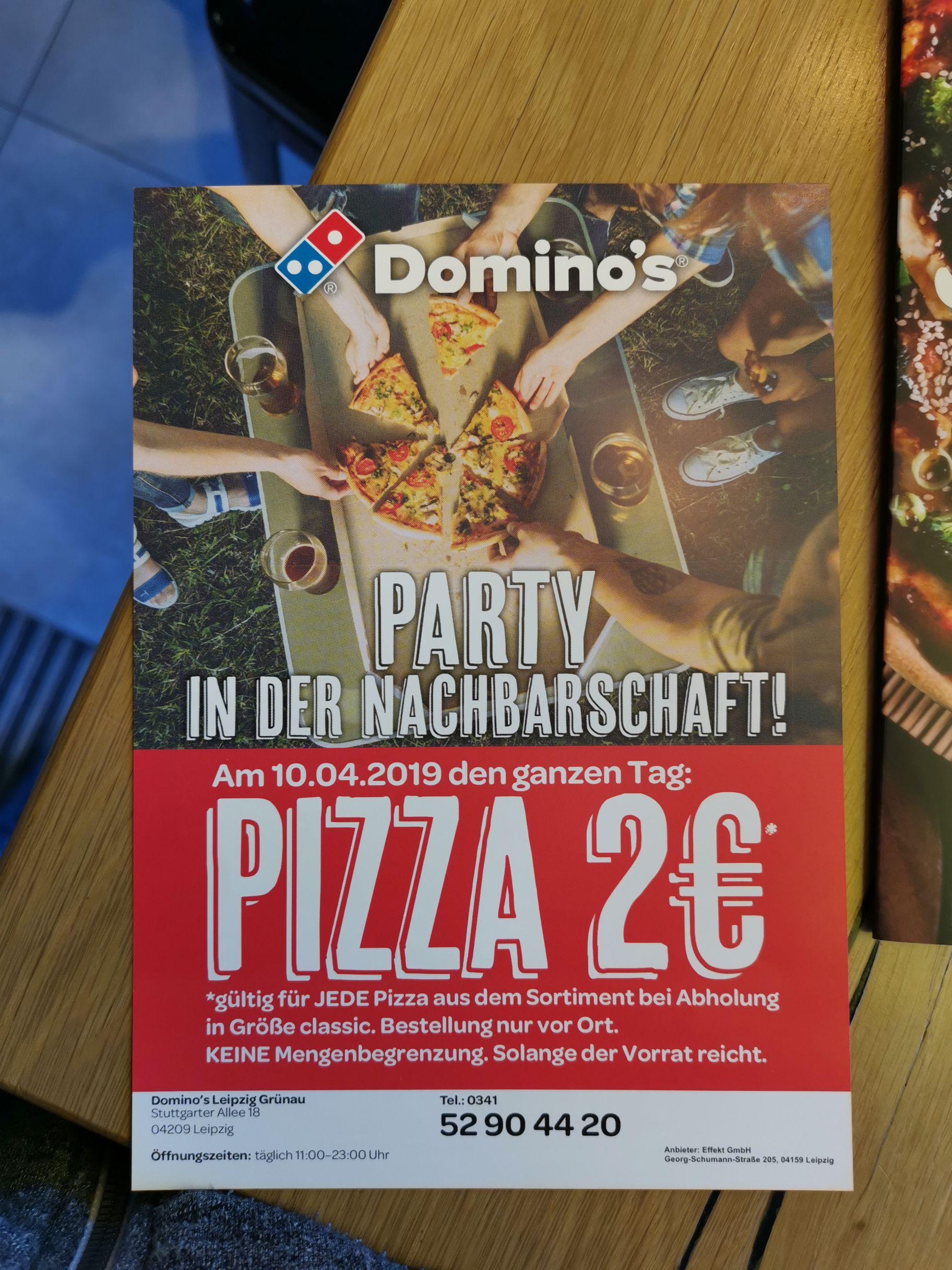 [Lokal Stuttgarter Allee 18 in Leipzig] Jede Domino's Pizza für 2€