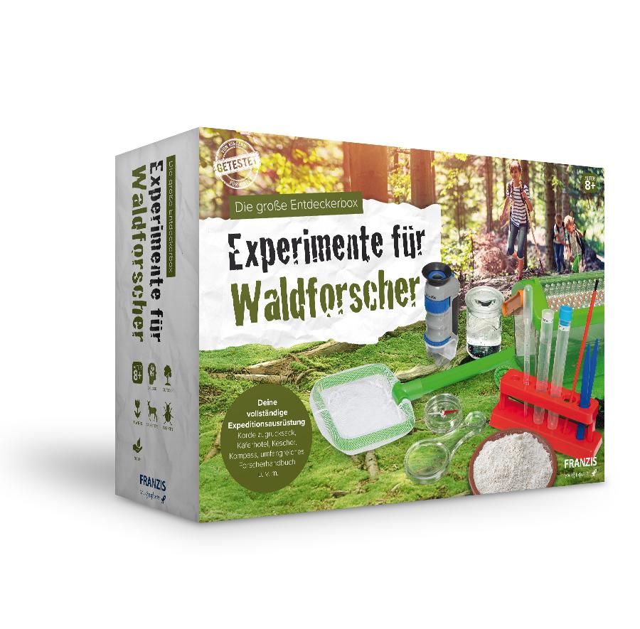 Franzis Experimente für Waldforscher Entdeckerbox (Forscherausrüstung: Kordelzugrucksack, Mikroskop, Becherlupe, Käferhotel, etc., Handbuch)