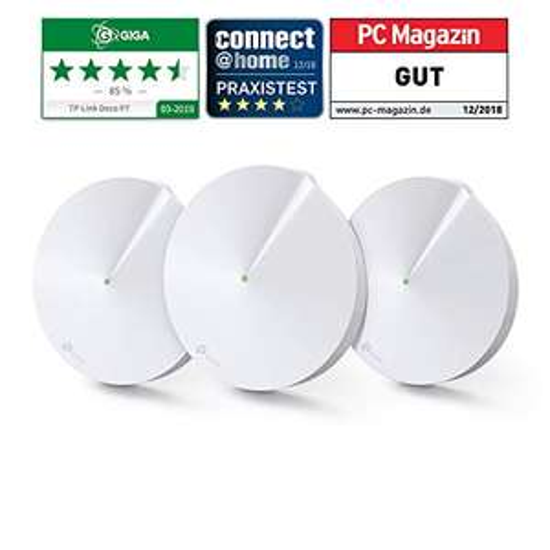 TP-Link Deco P7 Powerline WLAN Mesh Set (1300Mbits + 600Mbits, inkl. Antivirus, Reichweite bis zu 570m², 6xGigabit-Ports 3-Pack, weiß