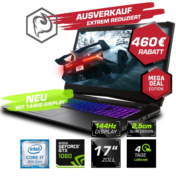 "Guru Storm Gaming Laptop (17,3"" FHD 144Hz, 8750H, 1060 6G, 16GB RAM, 500 GB SSD, kein OS)"