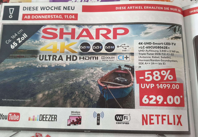 TV Sharp Aquos LC-65CUG8062E bei Real online und Kaufland offline