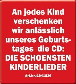 """Für jedes Kind gibt es die CD """"Die schönsten Kinderlieder"""" gratis @Media Markt Hof"""