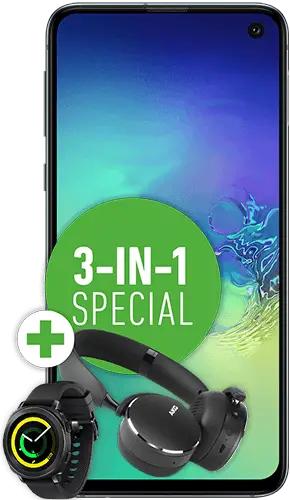 Samsung Galaxy S10e und Kopfhörer AKG Y500 und Watch Gear Sport im O2 Free M (10GB LTE, 20GB für Young) mtl. 29,99€ und 119€ einmalig