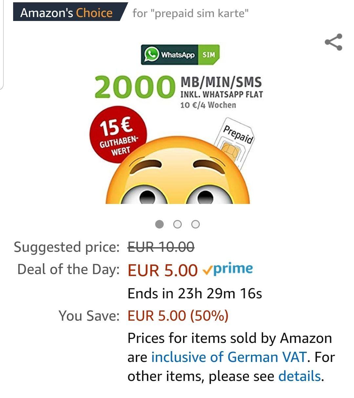 Amazon Prime : whatsapp sim für 5eur