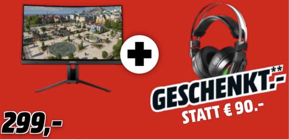 MSI Optix MAG271CR Full-HD Gaming Monitor + MSI Immerse GH70 Gaming Headset für 303,99€ (statt 398€)