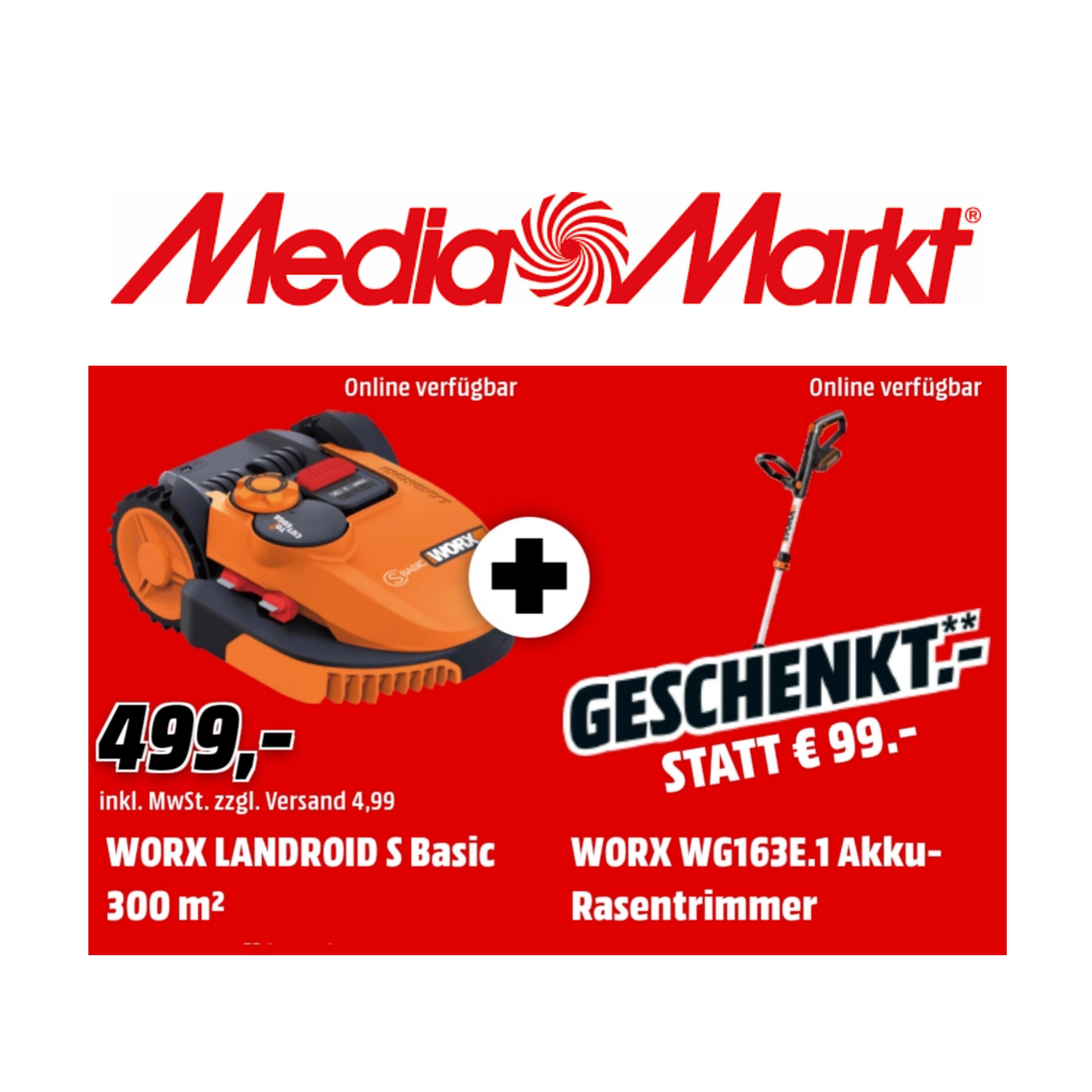 WORX WR090S Landroid S Basic + Worx WG163E.1 Akku-Rasentrimmer für 503,99€ [statt 598€]