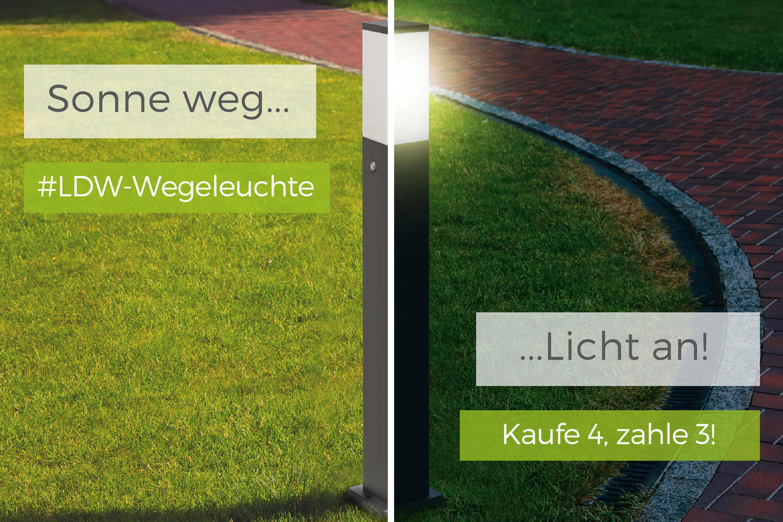 LED Wegeleuchte mit 2 Steckdosen + Dämmerungssensor anthrazit (4 bestellen aber nur 3 bezahlen)