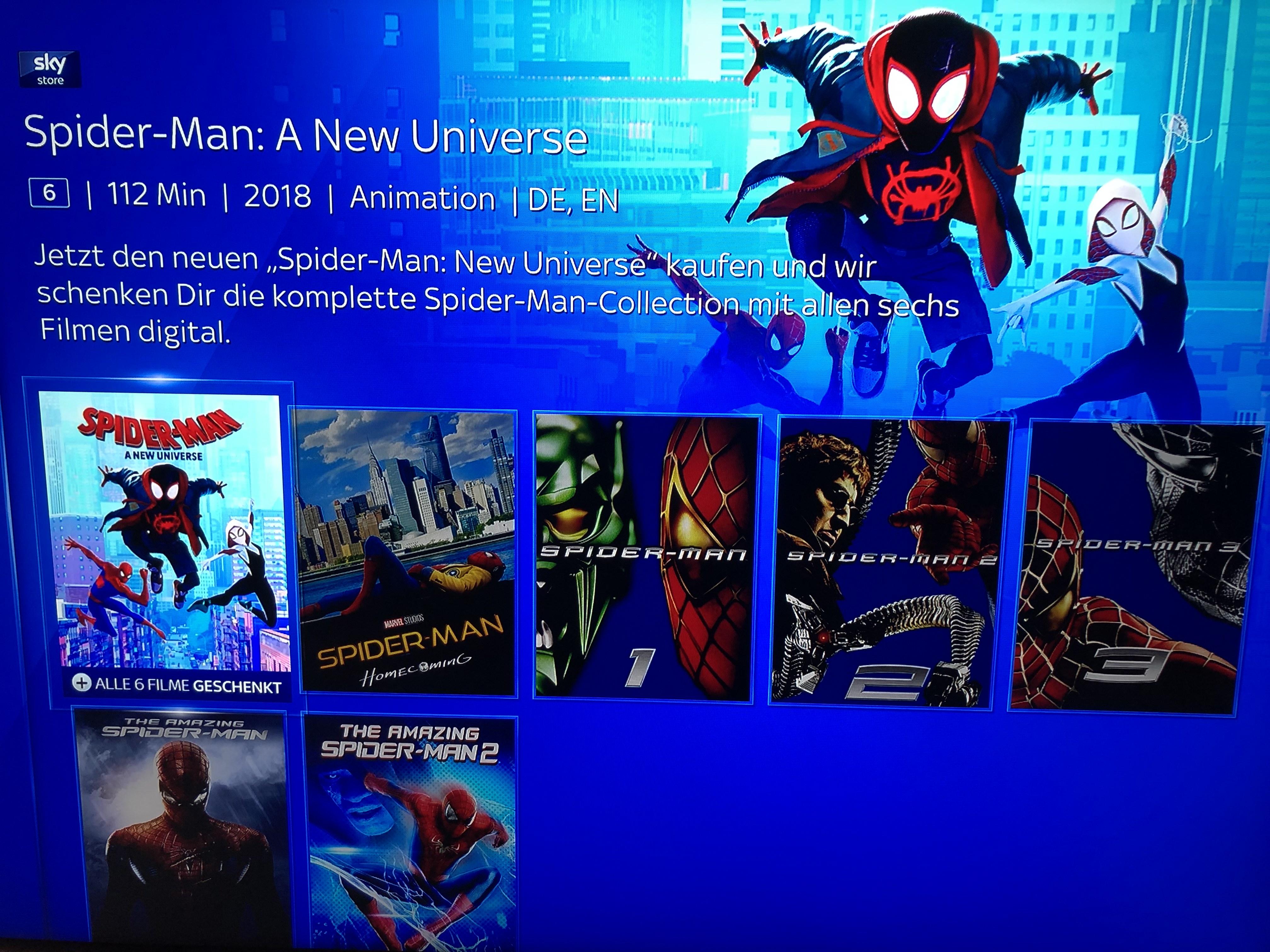Sky Store: Spider Man: A New Universe kaufen, komplette Spider Man Collection 6 Filme Digital kostenlos erhalten