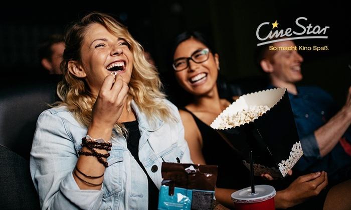 [Groupon] CineStar Kinogutschein für 2D-Film inkl. Zuschläge + Popcorn oder Nachos (klein) + 0,5l Softgetränk oder Bier für 10€