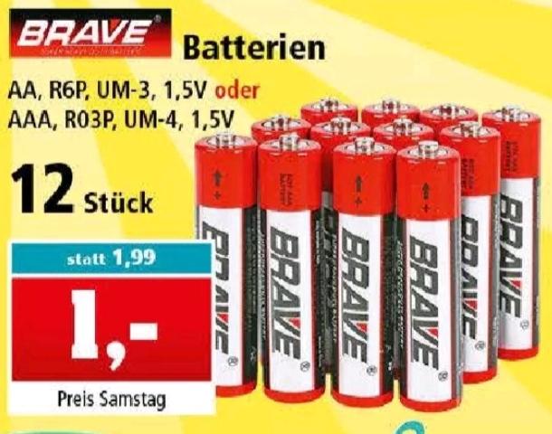 12x Brave AA R6P, UM-3 1,5V oder AAA, R03P, UM-4, 1,5V Batterien für 1€ [ Thomas Philipps ]