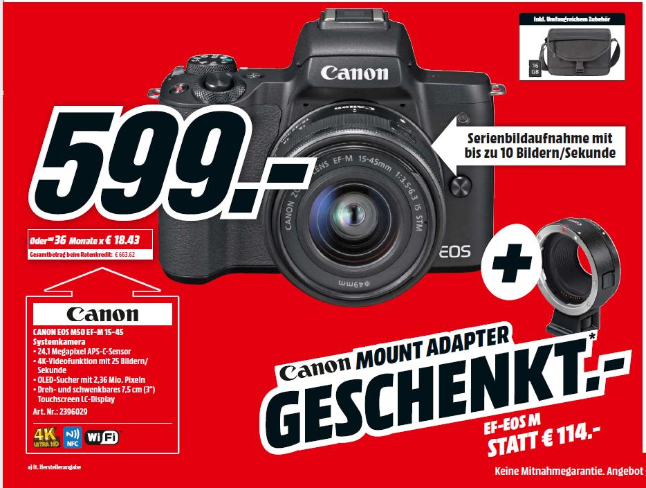 Media-Markt D, Canon EOS M50 + 15-45mm f/3,5-6,3 IS STM, EF-EOS-M Adapter + 16GB SD + Tasche
