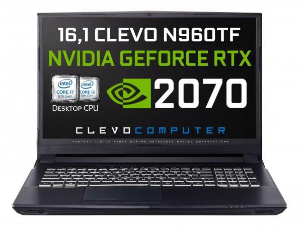 "Clevo N960TF Gaming Notebook 16,1"" FHD IPS 144Hz, i5-8400 6x2,8GHz, RTX 2070 8GB, 16GB DDR4-2666, 512GB m.2 SSD (als Barebone: 1189€)"