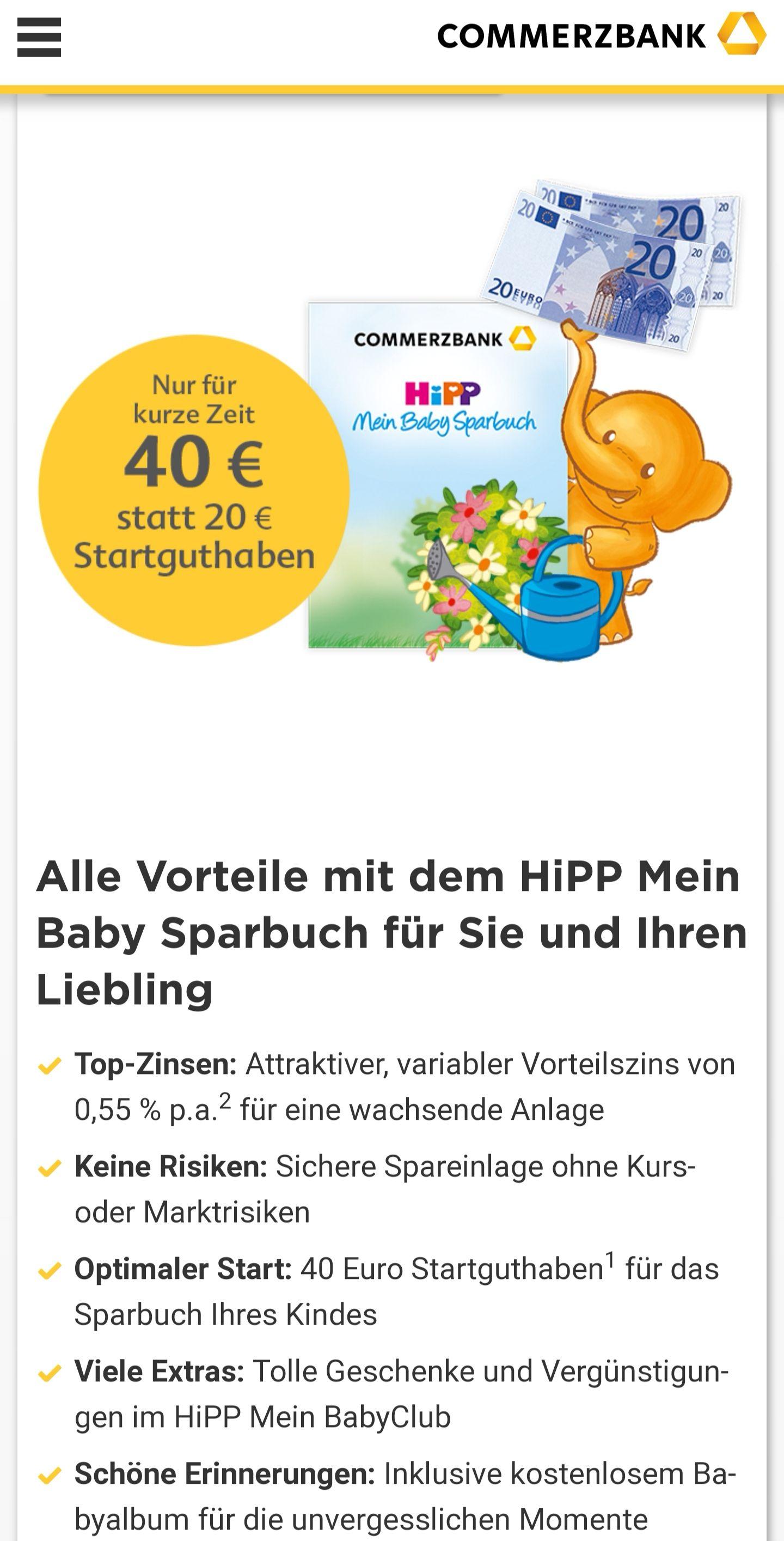HiPP Mein BabyClubMitglied werden (kostenlos) und 40 Euro Startguthaben sichern