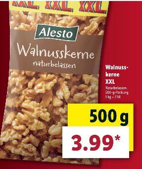 [LIDL ab 25.04] Alesto Walnusskerne/Naturbelassen in der 500g XXL Packung für 3,99€ (100g=0,80€) und weitere Nussspezialitäten