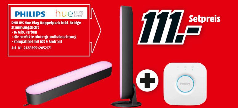 [Lokal: Media Markt Berlin & Umgebung] Philips Hue White & Color Ambiance Play Lightbar Doppelpack + Bridge   Logitech MX518 für 47€   u.a.