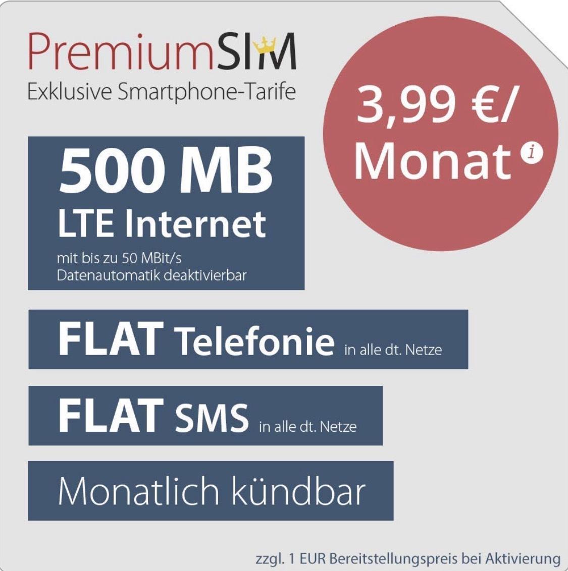 PremiumSIM Deal bei Amazon: 500MB LTE, Flat Telefonie und SMS für 3,99€ mtl. monatlich kündbar