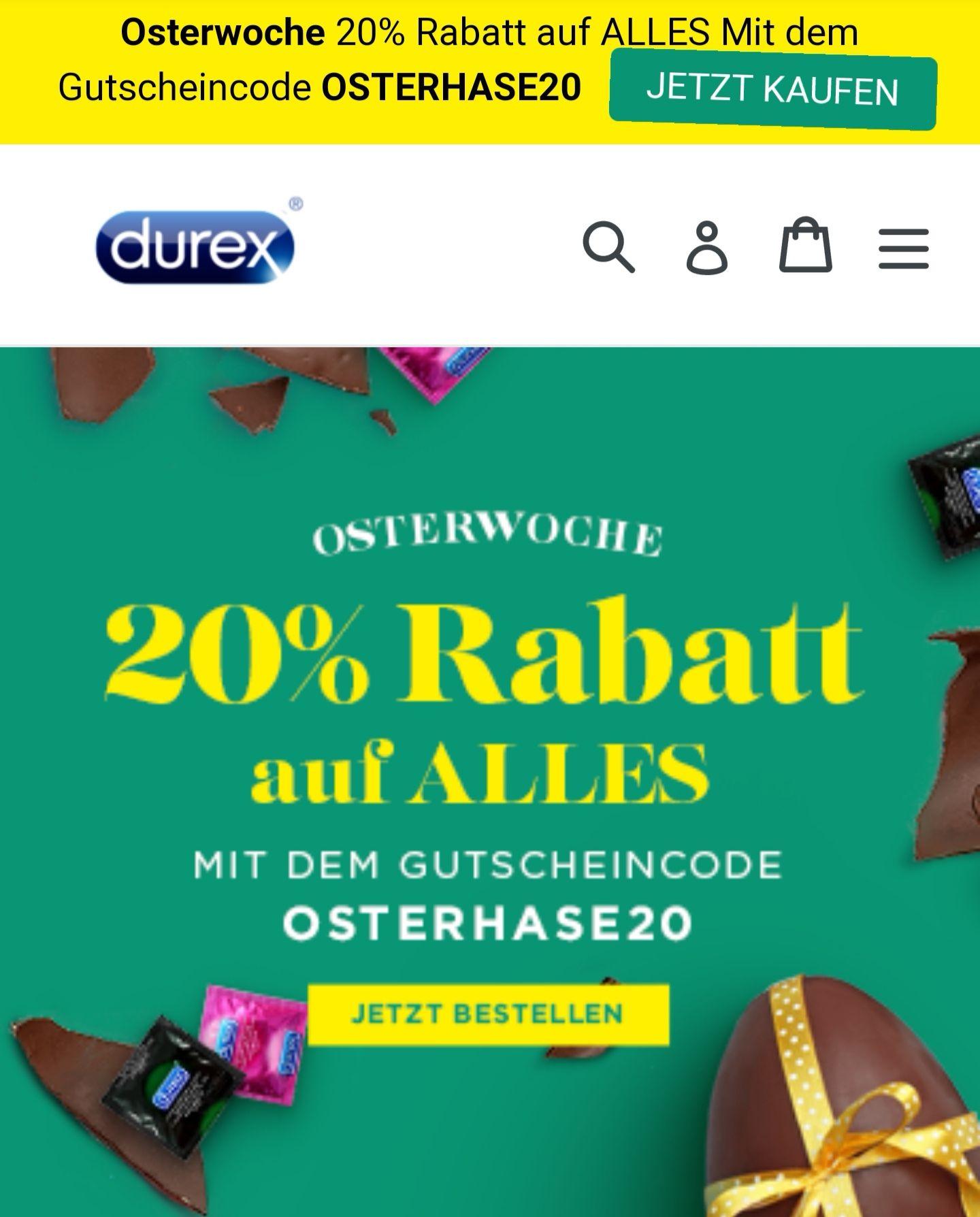 20% Rabatt auf alles bei Durex