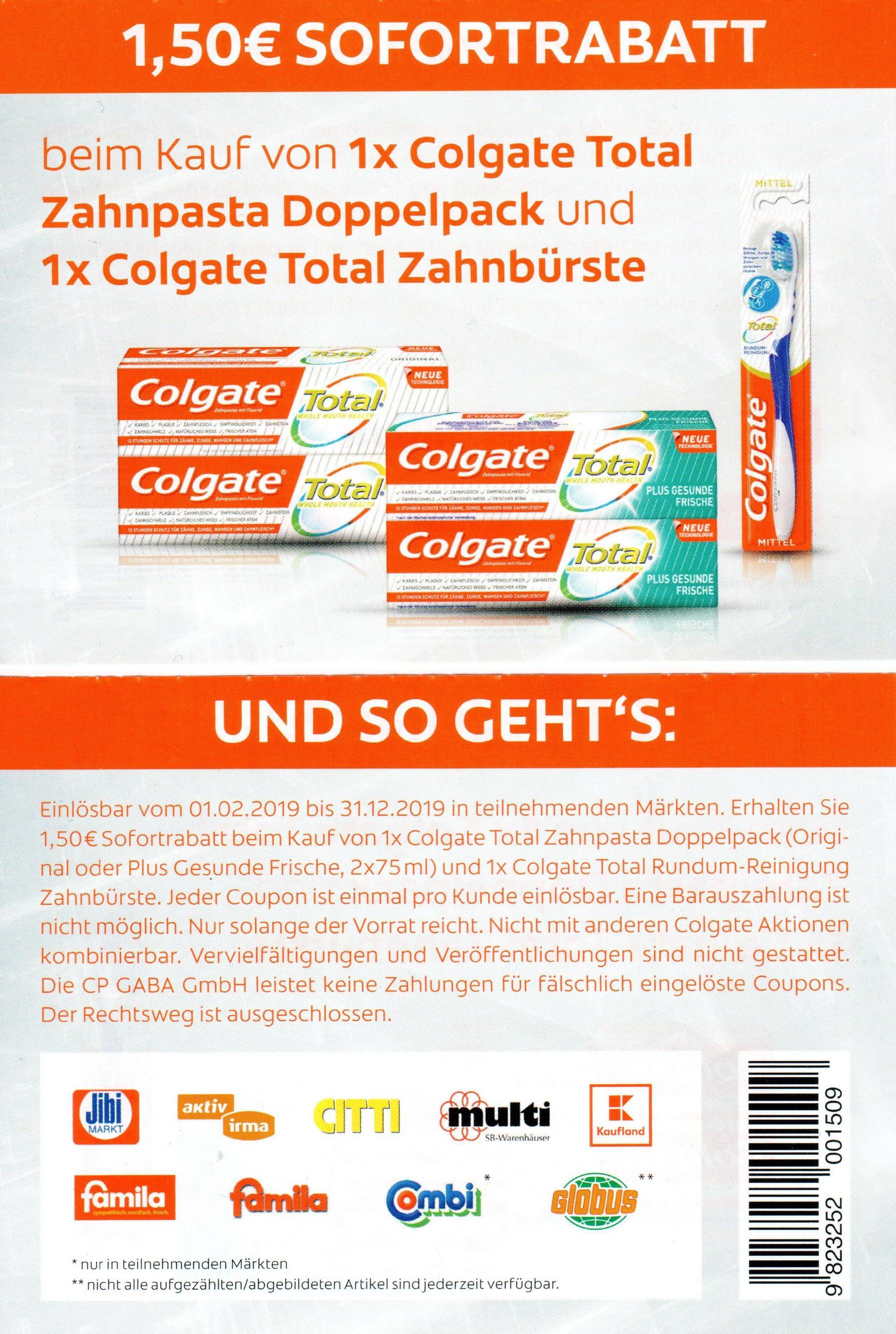 1,50€ Rabatt Coupon für den Kauf von 1x Colgate Doppelpack + 1 Zahnbürste [31.12.2019]