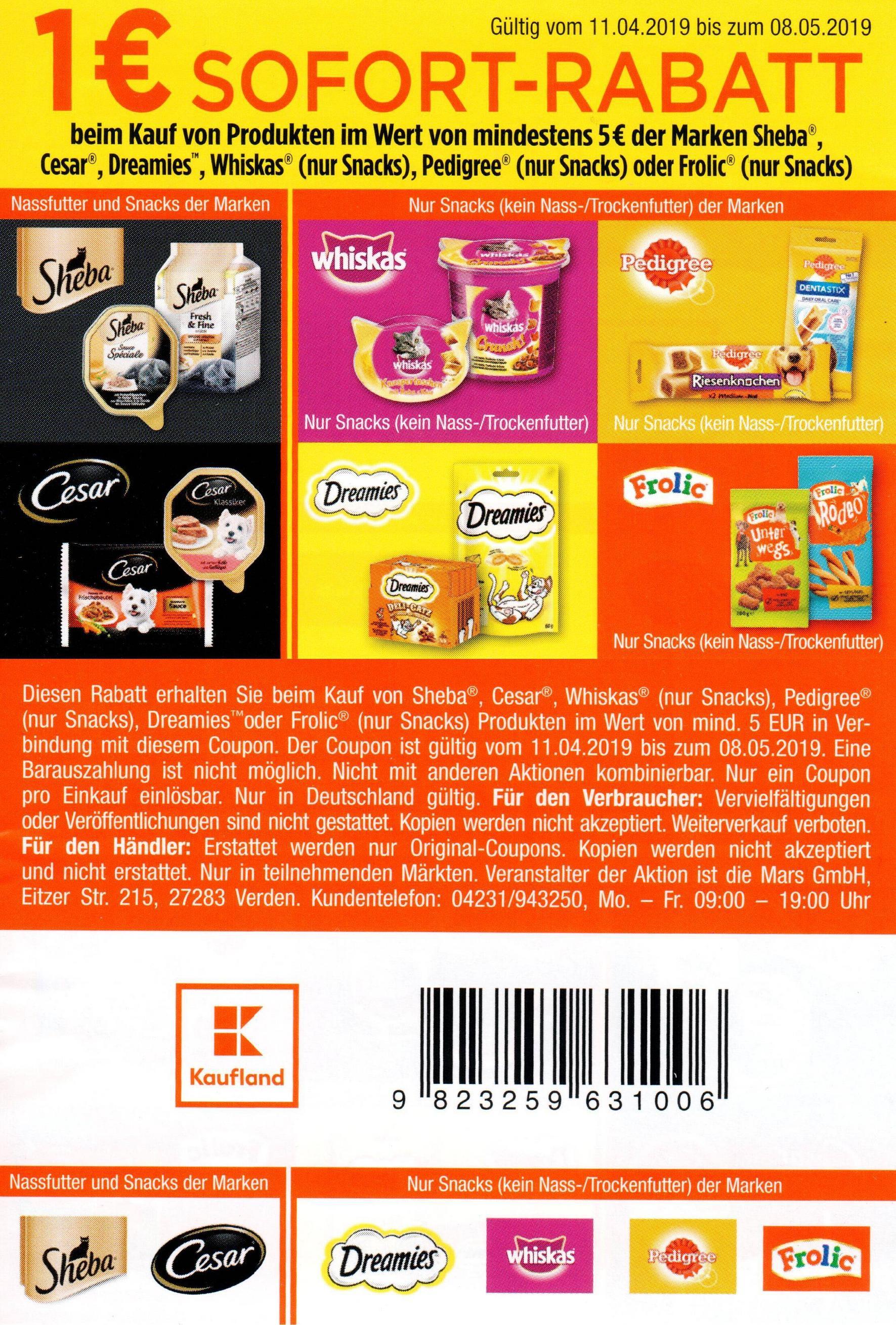 1€ Coupon für den Kauf von Produkten der Marken Sheba, Cesar, Dreamies, Whiskas/Pedigree/Frolic (nur Snacks) ab 5€ [09.05.2019] bei Kaufland