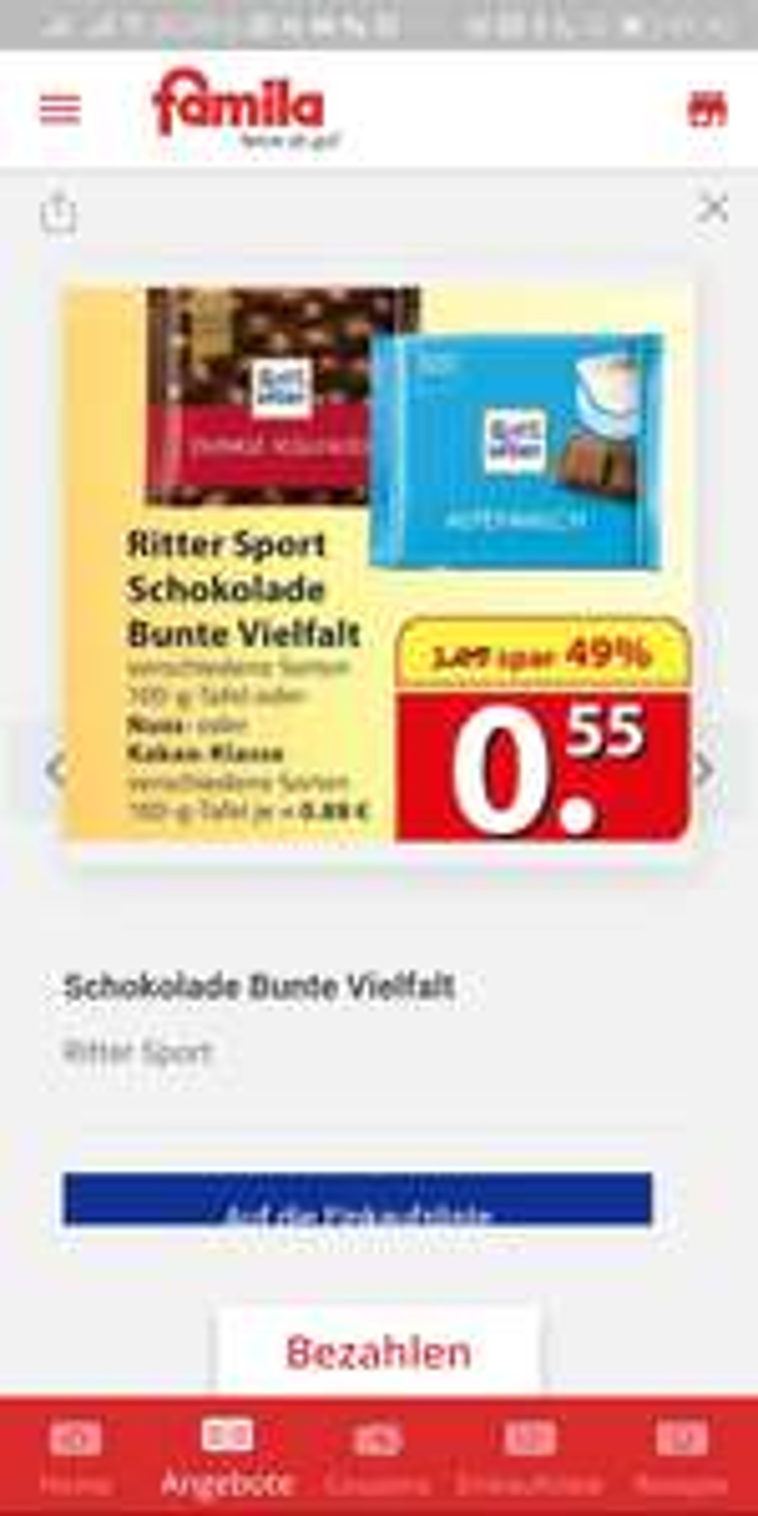 [Lokal] Celle: Ritter Sport Bunte Vielfalt für 55 Cent / Nussklasse 88 Cent