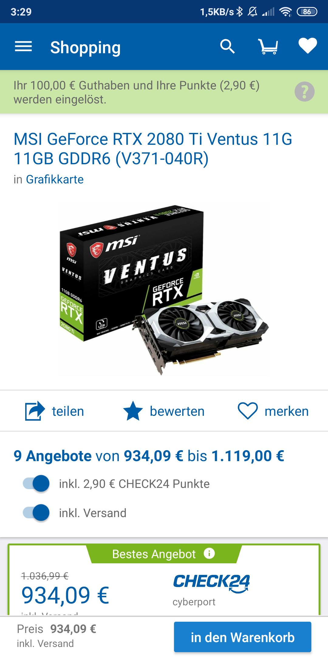 MSI RTX 2080 TI Ventus per CHECK24 deal