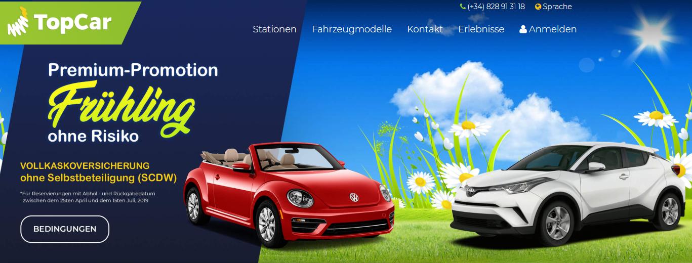 TopCar (Autovermietung auf Kanaren) Kostenlose Super Versicherung (SCDW)