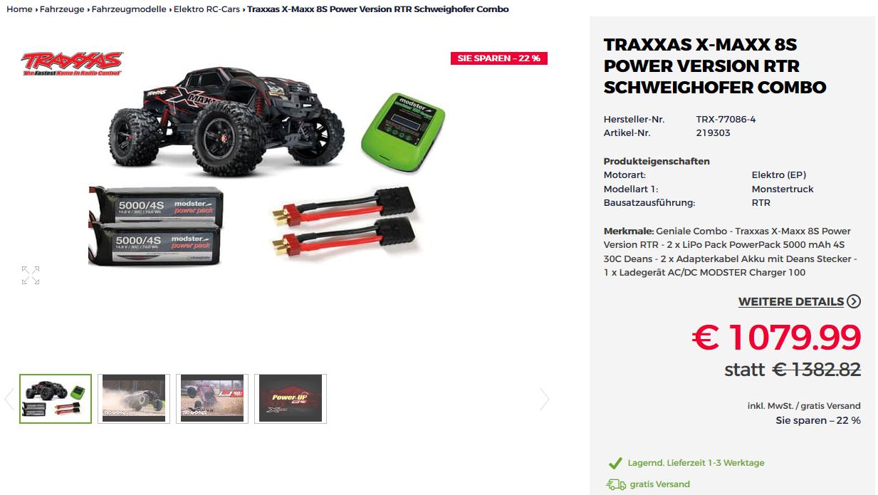 Traxxas X-Maxx 8S +  LiPo Akku + Ladegerät | RC Auto