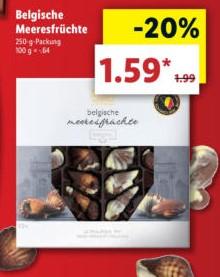 [Lidl] Ab 15.04.: Belgische Schoko-Meeresfrüchte 250g-Packung mit 20% Rabatt für 1,59€