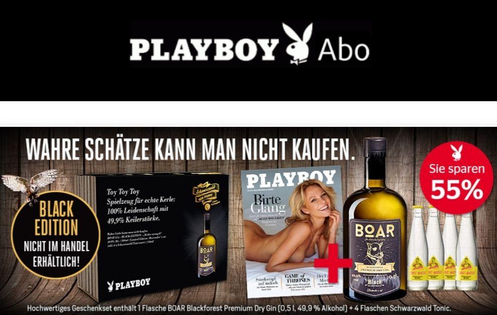 """Halbjahresabo Playboy + Boar Gin """"Black Edition"""" Sparpaket für 40,90€"""