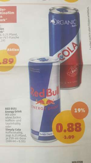 RED BULL Energy und Cola 0,88€