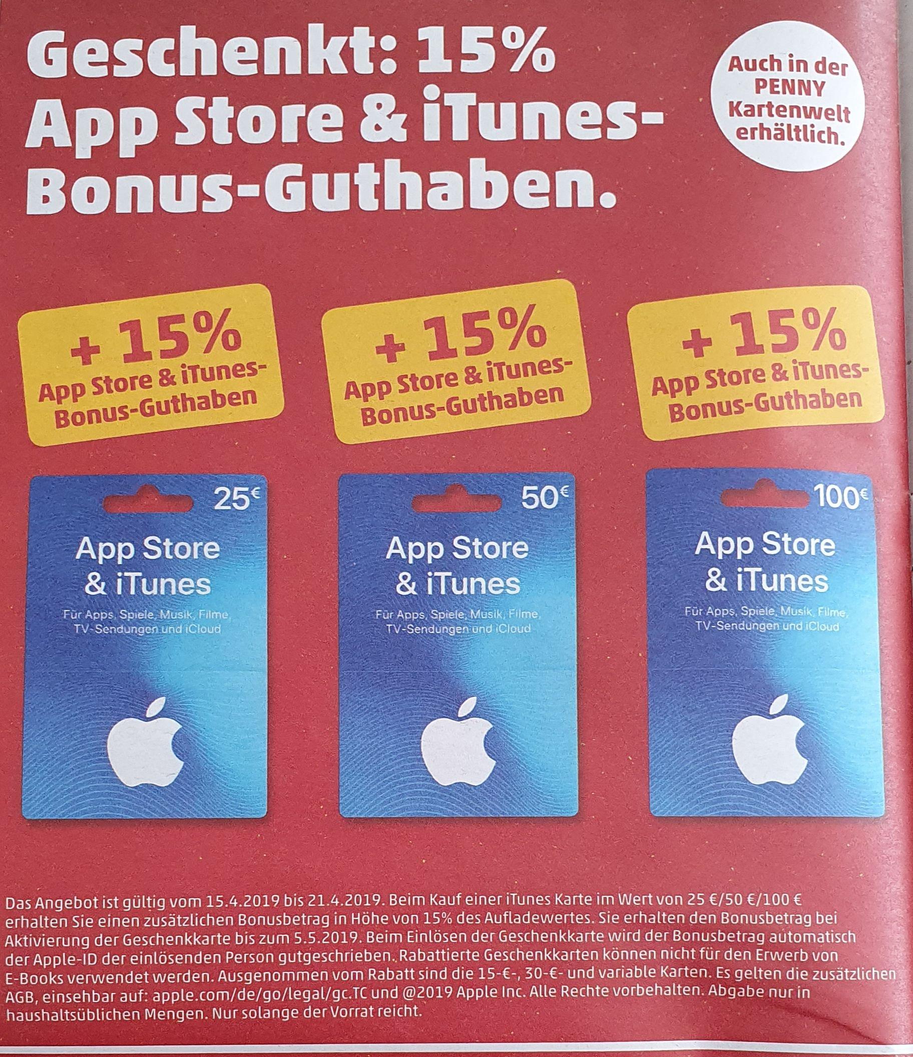 +15% extra App Store & iTunes Guthaben [Penny Markt Off- & Online ab. 15.04.]