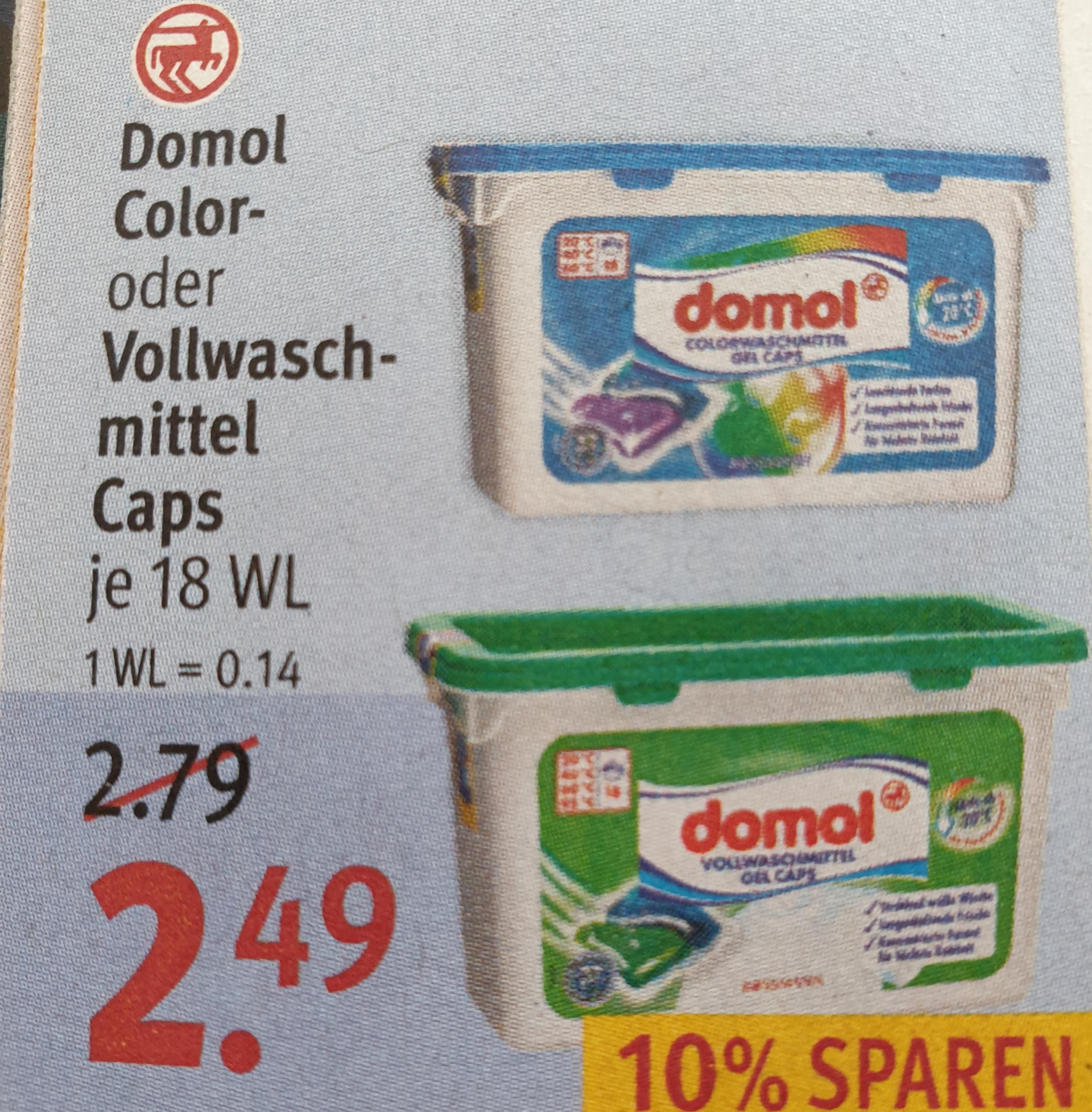 [Rossmann App Sammeldeal] Domol Color oder Vollwaschmittel Caps je 18WL für 1,13€