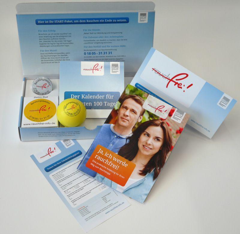 Gratis Nichtraucher Paket mit Kalender, Pfefferminzpastillen und Relax-Ball (FREEBIE)