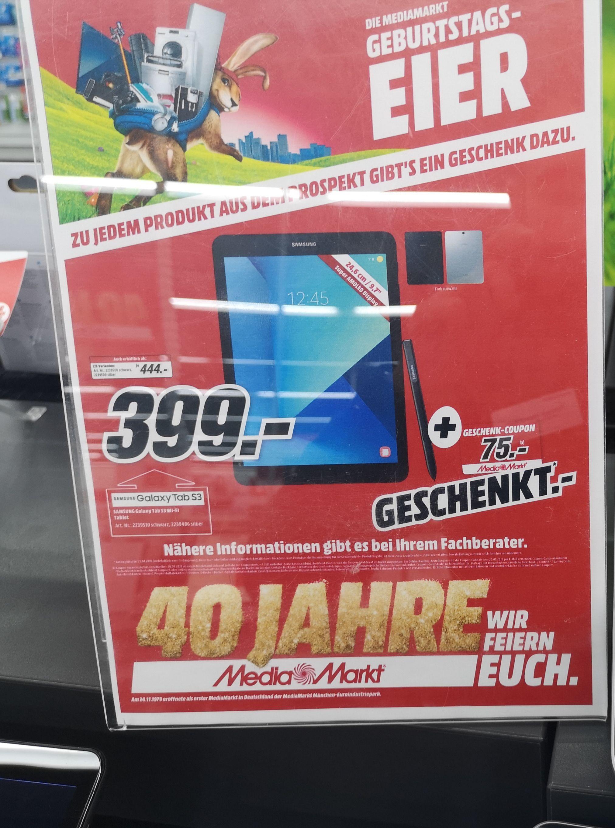 Samsung Tab S3 WiFi Variante mit 75€-Coupon
