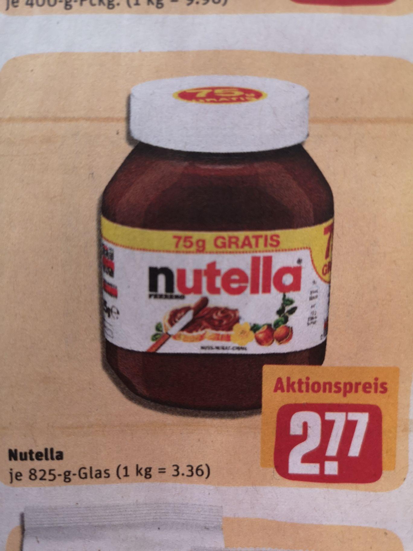 Nutella 825g für 2.77 € beim Rewe (1kg/3,36 Euro)