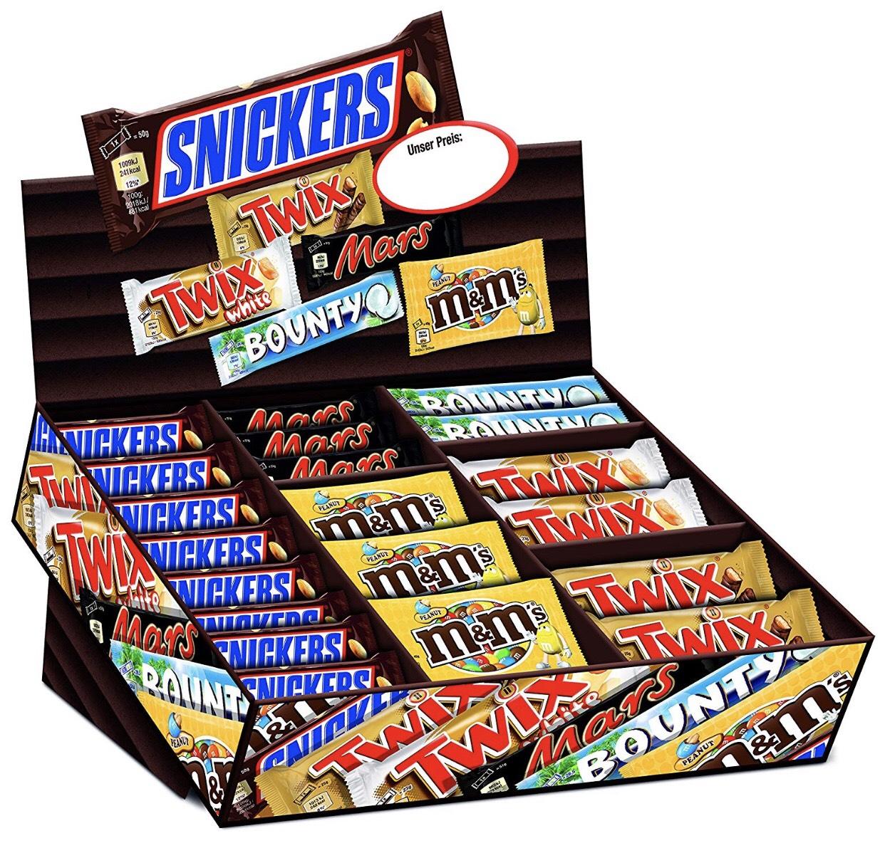 Mars Topsellerbox 72 Riegel (1x 3,6kg) für 26,24€ [Amazon] Snickers, Twix, M&Ms, Twix White