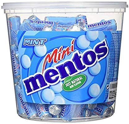 Mini Mentos Mint Classic, Eimer mit 120 Rollen Kaubonbons, Aufbewahrungsbox oder gemixt für je 9,99€ [Amazon Prime]