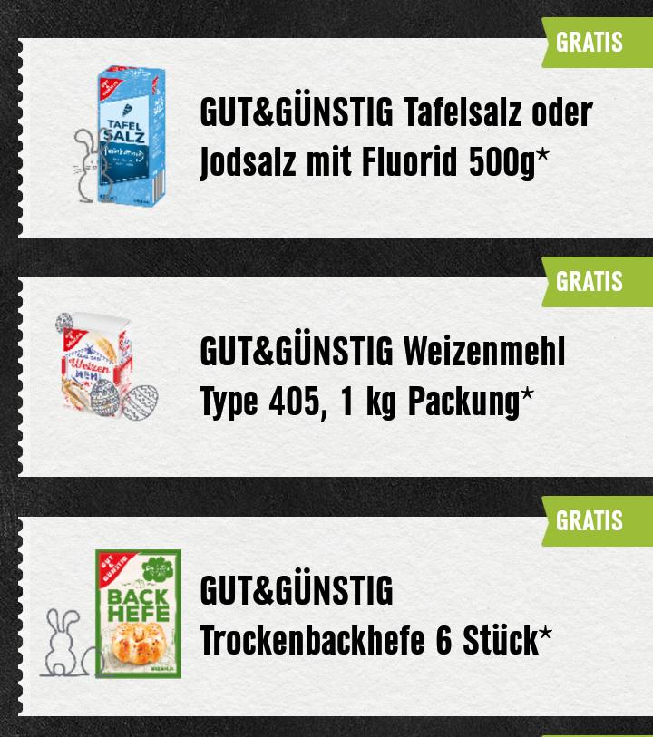 [Edeka mit Genuss+ App] Mehl, Salz und Trocken-Hefe und weiteres ab 5€ Einkauf geschenkt