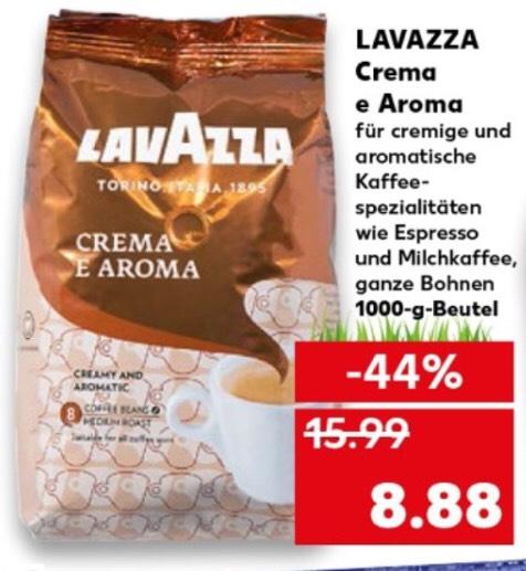 Kaufland ab Donnerstag 18.04.19 Lavazza Kaffee Crema e Aroma ganze Bohnen im 1kg Beutel für 8,88€, bei Netto ab 17.04. 9,77€ für 1,1Kg
