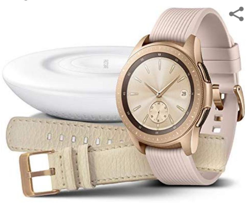 Samsung Galaxy Watch 42mm Bundle, rose gold + Charger und Lederarmband [Exklusiv bei Amazon]