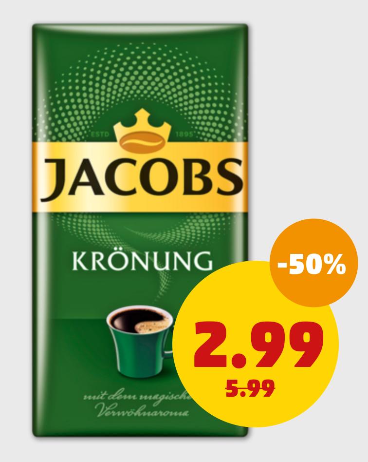 [Edeka, Penny & Rewe] Jacobs Krönung Kaffee 500g-Packung für 2,99€
